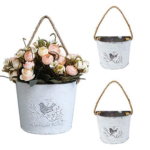 3 juegos de cestas colgantes – Macetas de pared galvanizadas para decoración de granja/jarrón para decoración de casa de campo