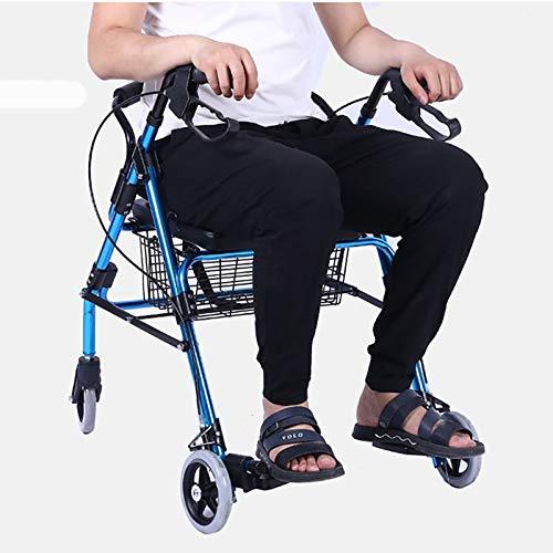 Instag Vintage Warenkorb Walker Lightweight Folding Aluminium Walker Gesundheitswesen Old-Fashioned vierrädrigen Roller faltbar