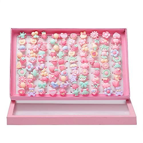 Wodasi Ringe für Kinder, 100 Stück Mädchen Ringe mit Box, Cartoon Kinderringe Candy Flower Tierform Ring Set Für Kinder, Ring für Kinder Blumen Schmetterling Ring, Kinderringe Mädchen, Zufälliger Stil