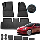 Homeland Hardware Floor Mats Liners for Tesla Model 3 Interior Set in Black for Models All-Weather Multi-Layer Custom Laser Cut Max Chain Rolled Carbon Series Non Slip (2019, 2020 & 2021)