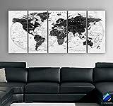 Original by BoxColors Xlarge 30'x 70' 5 Panels 30x14 Ea Art Canvas Print Watercolor Black White Gray Map World Push Pin Travel Wall decor (framed 1.5' depth) M1828