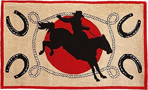 EuroLux Home Rug Ride Em 4x6 Hand-Hooked Wool 6x4 Outstanding Many popular brands Cotton