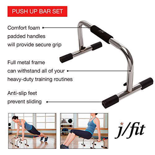 j/fit Tall 9″ Pro Push Up Bar Stand | Durable Metal Fitness Equipment and Padded Handles For Secure Grip Non Skid Feet Elevated Bar For Enhanced Push Ups, Great Range Of Motion and Protected Wrists