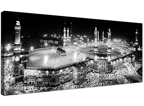 Großer, islamischer Leinwanddruck in schwarz und weiß der muslimischen Wallfahrt Hajj für Kaaba, in Mekka