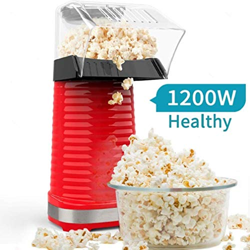 Air Popper Popcorn Maker, Electric Hot Air Popcorn Popper Maker for Home, Healthy Hot Air swirling Popcorn Popper No Oil, DIY Your Own Taste,with Measuring Cup and Removable Top Cover—Red