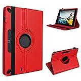 UC-Express Tablet Hülle kompatibel für Medion Lifetab E10430 E10714 E10414 E10604 E10412 E10511 E10513 E10501 Tasche Schutzhülle Cover 360° Drehbar, Farbe:Rot