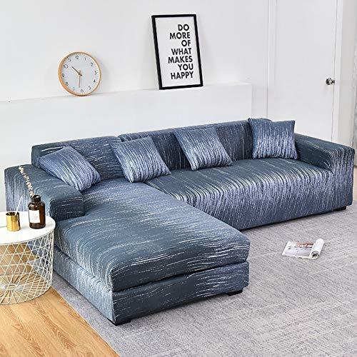 Fundas de sofá Chaise Longue Impresas en Forma de L para Sala de Estar Protector de sofá Fundas elásticas Antipolvo para sofá de Esquina A19 2 plazas