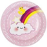 Neu: 6 Party-Teller * Schnuller-Alarm - Rosa * für Einen Süßen Kindergeburtstag | Baby Mädchen Geburt Kinder Geburtstag Girl Pappteller Partyteller Einweg
