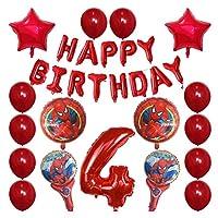 バルーン 30pcsスパイダーマンホイルの風船1 2 3 4 5 6 7 8 9歳の誕生日パーティーの装飾番号バルーンスターキッズのおもちゃ (Color : 4)