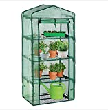 Mini Greenhouse 4 Tier Small Garden, Collapsible Shelves for Plant Growing, Portable Outdoor Flower Stand, Seed Propagation Plant, Reinforced PE Cover, Steel Frame, 69 x 49 x 158cm