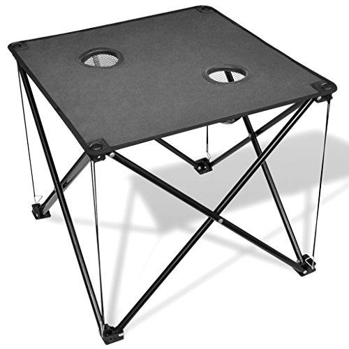 vidaXL Table de Camping Pliante Grise avec Un Sac de Transport Mobilier de Camping