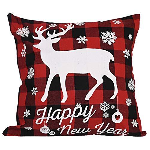 PTMJ Christmas Pillow Case Cartoon Elk Print Cushion Cover Snowman Dog Christmas Classic Pattern Print Throw Pillow Home Decoration Square Cushion cover (Multicolors # B)