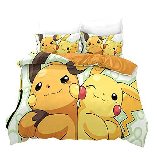 AmenSixye Pokemon Juego de Funda nórdica Juegos de Cama de Dos/Tres Piezas Detective Pikachu Funda de edredón Impresión Digital 3D Edredones de Cama Populares-Pikachu_10_200x230cm (3 Piezas)