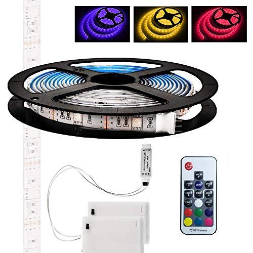 LED-Lichtbänder, flexible 5M / 16,4ft TV-Hintergrundbeleuchtung, batteriebetriebene wasserdichte RGB-LED-Lichterketten mit Fernbedienung und 2-Batterie-Netzteil für Küche, Schrank, Spiegel