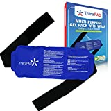 TheraPaQ Ice Pack for Injuries - Hot & Cold Gel Compress Packs for Back, Ankle, Knee, Arm, Shoulder Pain Relief - Reusable, Flexible Therapy Heat Wrap w/Adjustable Strap - Large Pack:14'x6'