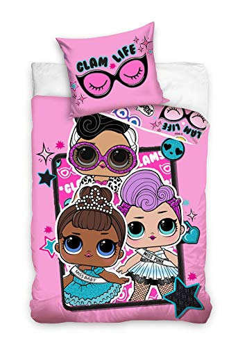 Halantex LOL Surprise Glam Life Bettwäsche-Set Mädchen Kinderbettwäsche 135x200 + 1 Kissenbezug Rosa 100% Baumwolle Öko-Tex