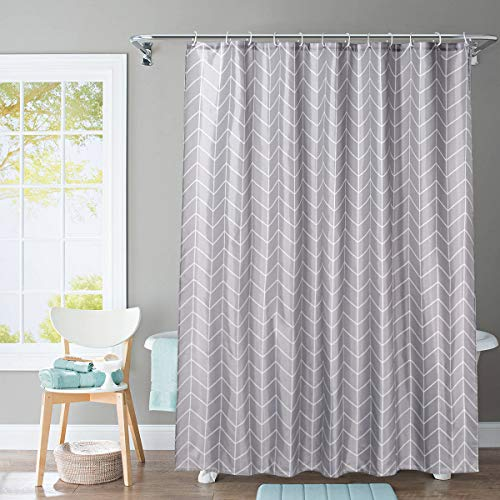 JRing Shower Curtain Polyester Fabric Machine Washable with 12 Hooks 72x72 Inch (Darkgrey)