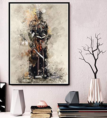 yhnjikl Cartel e Impresiones Hot Armored Samurai Japón Anime Ilustraciones Pinturas Arte Moda Lienzo de Pared Cuadros para la Sala de Estar Decoración para el hogar 40X60 cm Sin Marco