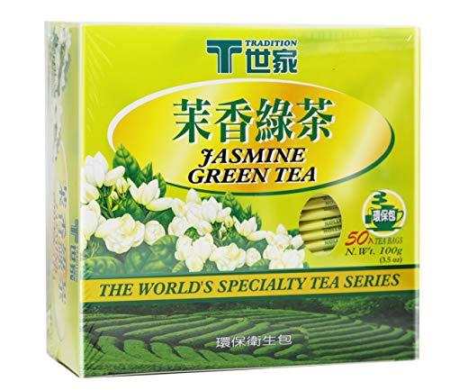 TRADITION Jasmine Green Tea 50 Individual Wrap Tea Bags 3.5 Oz (100 g)
