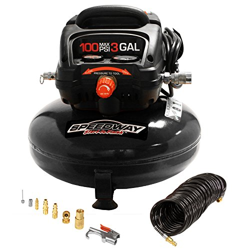 Speedway 50959 3-Gallon Pancake Style Oil Free Air Compressor with on board accessory storage