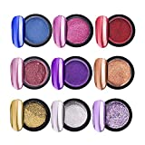 NICOLE DIARY Mirror Nail Glitter Powder Gold Champagne Silver Purple Pink Chrome Metal Effect Nail Glitter Dust Set and 20Ps Free Eyeshadow Brush Makeup Brush(9 Boxes)