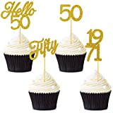 48 Pieces Glitter Hello 50 Birthday Cupcake Toppers Fifty 1971 Picks Anniversary Party Cake Toppers Decorations for 50th Anniversary Birthday Party Wedding Decorations (Gold)