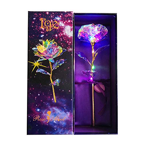KIRIFLY Artificial Rose Gifts Fake Flowers Roses Presents for Women LED Light Plastic Cellophane Flower Birthday Anniversary Engagement Colorful Gifts