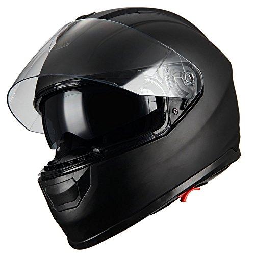 1Storm Motorcycle Full Face Helmet Dual Lens/Sun Visor Matt Black