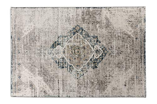 LIFA LIVING Tapis en Laine synthétique, Tapis de Style Vintage, Tapis de Salon et de Chambre à Coucher, Disponible en Beige & Bleu Fonce, 160 x 230 cm