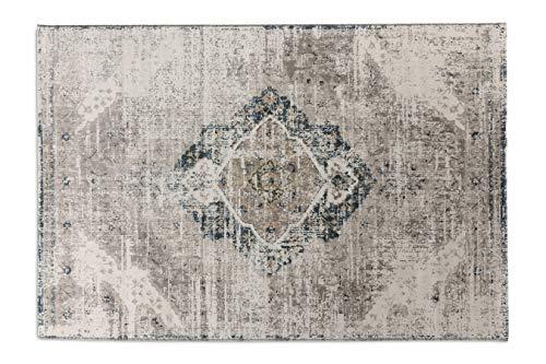 LIFA LIVING Alfombras de Lana sintética Aqua, Alfombra de Estilo Retro, Alfombra para Salón y Dormitorio tamaños (Beige/Azúl Oscuro, 160 x 230 cm)