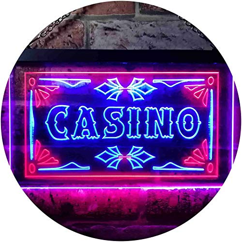 ADV PRO Casino Beer Pub Games Poker Bar Illuminated Dual Color LED Enseigne Lumineuse Neon Sign Rouge et Bleu 600 x 400mm st6s64-i0708-rb