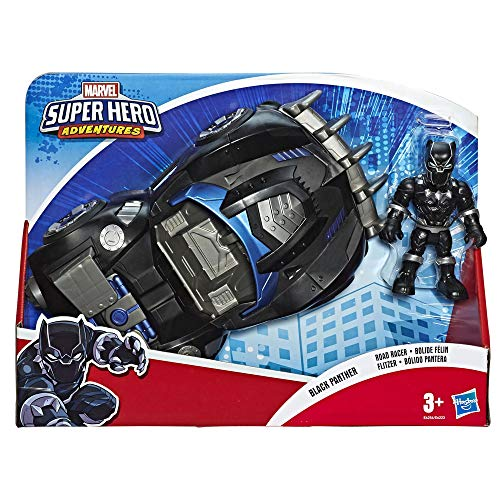 Marvel Super Hero Adventures - Black Panther Road Racer (Playskool Heroes Super Hero Adventures, Personaggio da 12,5 cm con Veicolo)