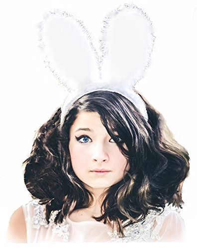 Kids Easter basket Bunny Rabbit Ears Cosplay Headband Childrens Adult Quality Hair Band Plush Soft Fuzzy Furry White