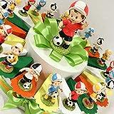 Torta bomboniera portaconfetti compleanno nascita comunione con bambini giocatori calcio colorati + centrale + confetti e centrale