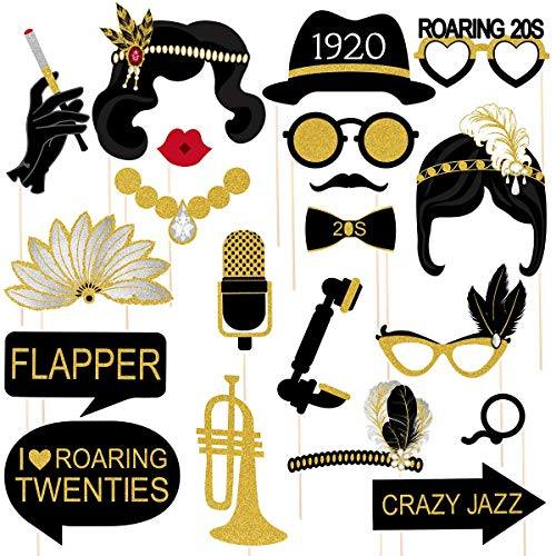 Tinksky 20pcs 1920s Photo Booth Props Roaring 20's Party Photo Props with Bamboo Sticks Creative Party Supplies,Perfect 1920s Themed Birthday Wedding Hollywood Party Decoration Accessories