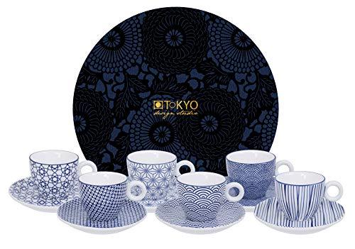 TOKYO design studio Nippon Blue Espresso-Set blau-weiß, 12-TLG, 6X Espresso-Tassen mit Untertassen, asiatisches Porzellan, Japanisches Design, inkl. Geschenk-Verpackung