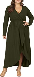 Allegrace Women Plus Size Wrap V Neck Long Sleeve Ruffle Maxi Dress Flowy Long Dresses
