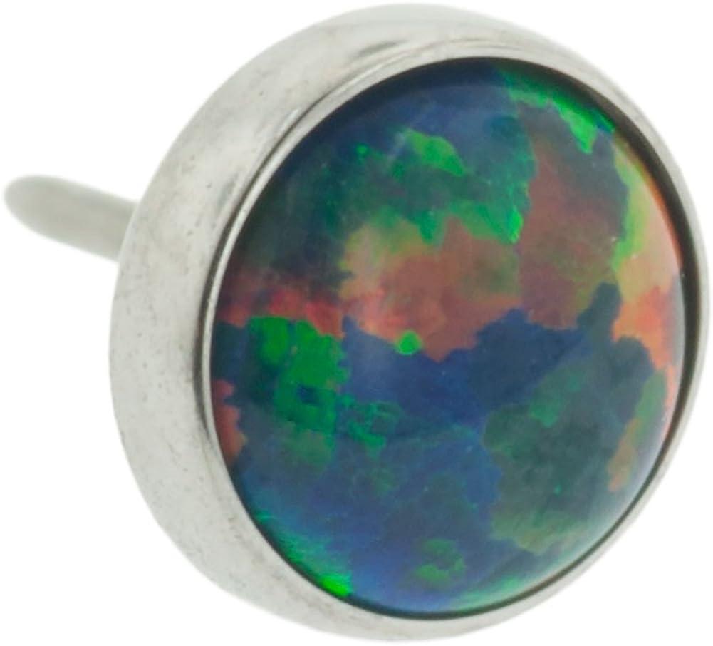 Steel Navel Body Jewelry Threadless Titanium Synthetic Opal Cabochon End: 18g High Polish, Gem: 2mm, Black Opal Gem