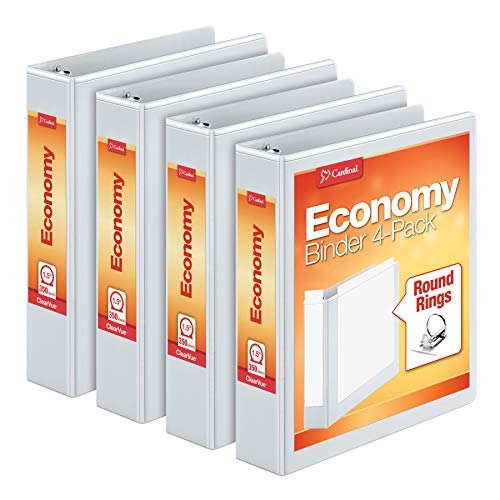 Cardinal 1.5 Inch 3 Ring Binder, Round Ring, White, 4 Pack, Holds 350 Sheets (79517)