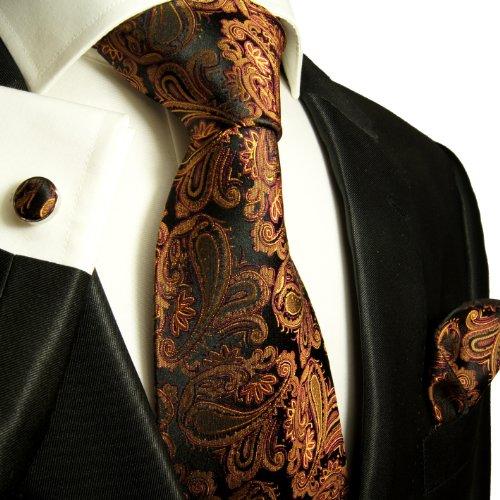Cravate homme noir marron motif cachemire ensemble de cravate 3 Pièces (longueur 165cm)