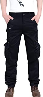 MIS1950s Men's Pants Casual Loose Outdoors Pure Color Work Trousers Long Pants with Multi-Pocket