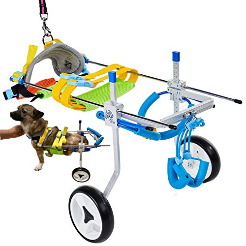Adjustable Dog Cart/Wheelchair, Animal Exercise Wheels,for Pet/Doggie Wheelchairs with Disabled Hind Legs Walking,Light Weight, Easy Assemble (7-Size)(XSLW)