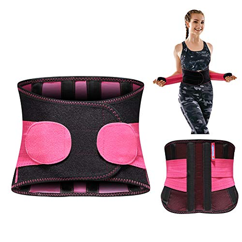 T TIMTAKBO Lower Back Brace Lumbar Support for Lower Back Pain Relief,Women Men Adjustable Flexible Waist Trainer Belt,Sport Girdle for Gym,Lifting,Workout (Black/Red, S/M Fit Belly 23.5'-31.5')