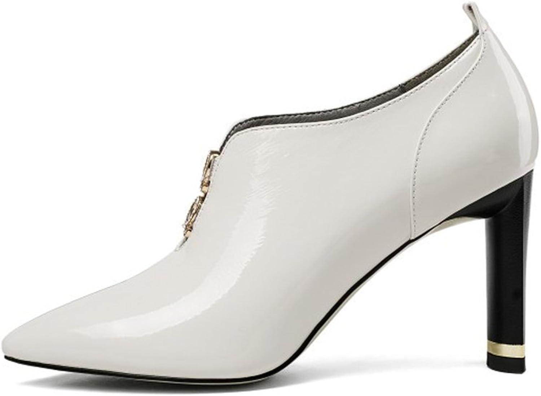 MKJYDM Women's shoes Deep Mouth High Heels Court shoes British Style Women's Boots Fashion Work Career shoes Casual shoes 34-39 Women's high Heels (color   White, Size   36 EU)