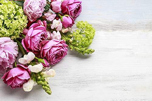 DesFoli Rosen Blumenstrauß Tisch Rosé Pink Poster Kunstdruck Fotoposter P2245 Größe 30 cm x 20 cm