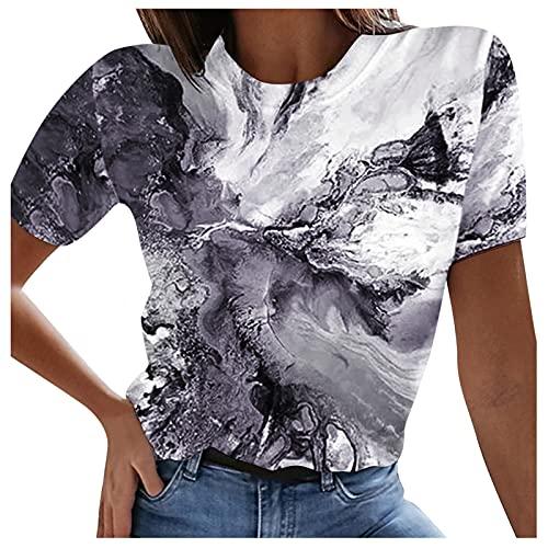 Oversize Tshirt Damen Sommer Elegante Kurz Rundhals Tunic Oberteile Süß 3D Wal Ozean Drucken Sport Bluse Hemd Shirt Teenager Mädchen Casual Slim Fit Tunika Lang Tops Schlankes Streetwear