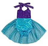Carkoo Mermaid Baby Girl One Piece Swimsuits With Tutu Dress (Large,Purple)