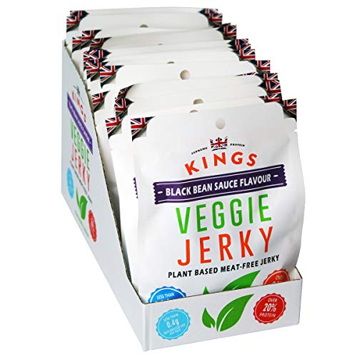 Kings Vegan Friendly Black Bean Sauce Flavour Veggie Jerky Box of 16 x 25g