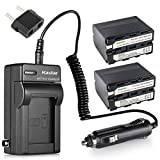 Kastar NP-F970 Battery 2-Pack and Charger Compatible with Sony NP-F975, NP-F960, NP-F950 and Sony L Type Camcorder DCR-VX2100, FDR-AX1, HDR-AX2000, HDR-FX7, HDR-FX1000, HVR-V1U, NEX-FS100U, NEX-FS700U