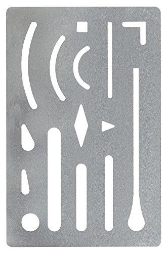 GEOtec Radierschablone 9x6 cm, rostfreier Stahl, 15 Öffnungen